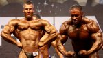 A bodybuilder show his abs in a bodybuilding competition
