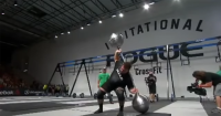 Martins Licis performing a 257 kilogram Steinborn Squat