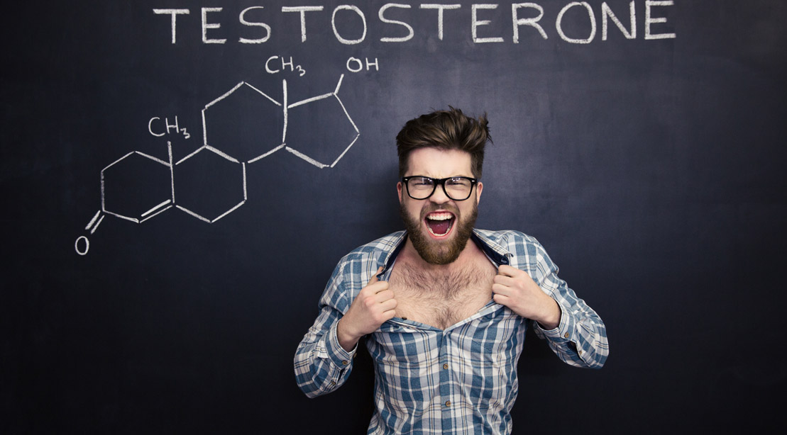 Hairy man dramatically opening his shirt to expose his hairy chest from testosterone levels