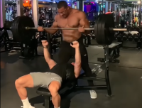 Larry Wheels Manhandles Bodybuilder While Spotting Him