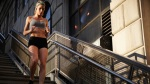 Woman Working Out Running on the Stairs Outside
