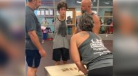 Tim, a 20-year-old with no arms hits a 20-inch box jump