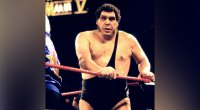 Wrestler André René Roussimoff best known as Andre The Giant in the ring at Wrestlemania V