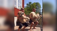 Don't Try This at Home: Swedish Couple Works Out with their Dogs