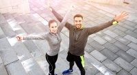 Fitness-Couple-Success-Happy-Stairs
