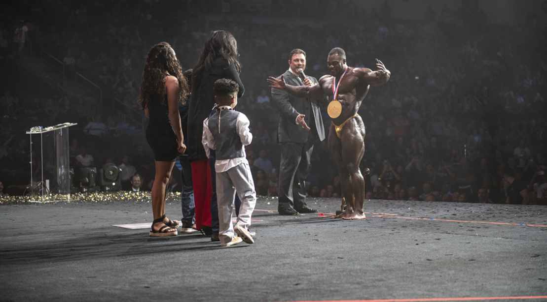 Behind the scene of the 2019 Mr. Olympia Contest with Brandon Curry winning Mr. Olympia celebrating with his family