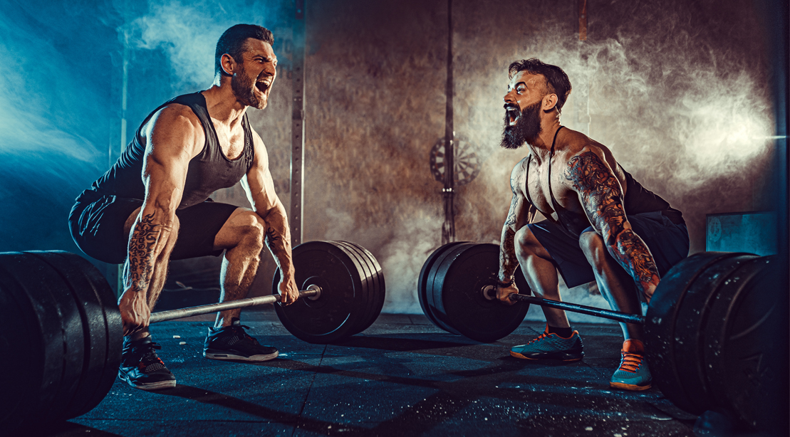 Two-Male-Bodybuilder-Squatting-Powerlifting