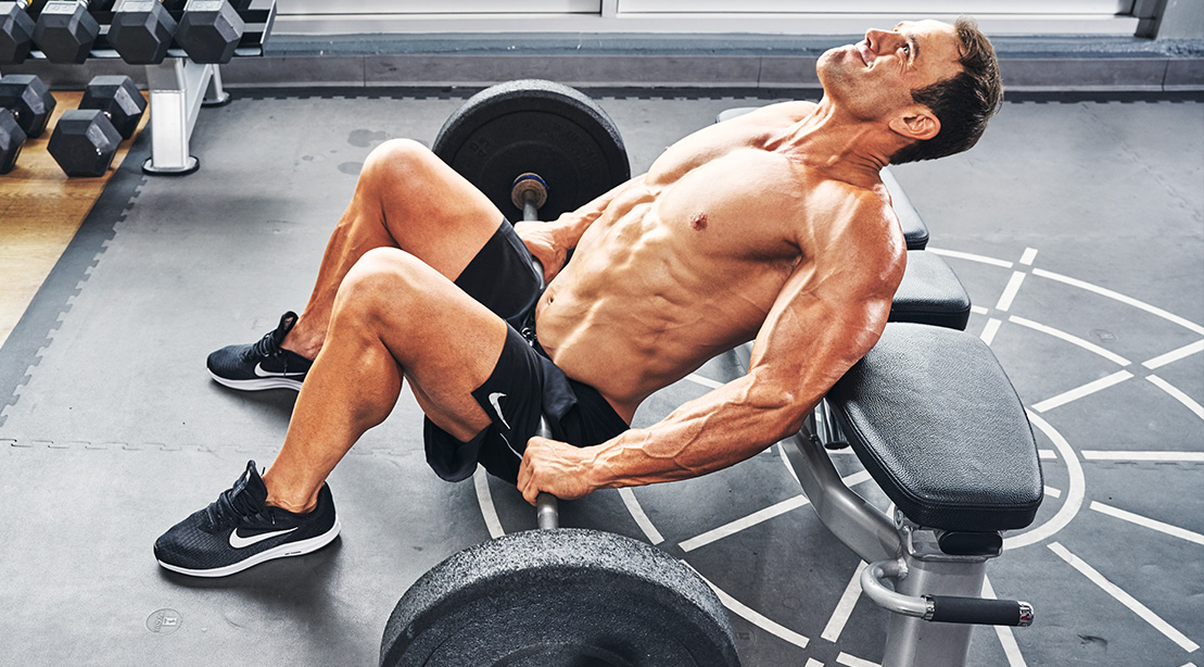 Steve Swanson Doing a Barbell Hip Thrust