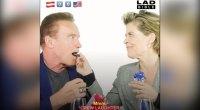 Arnold Schwarzenegger and Linda Hamilton Play 'Snack Wars.'
