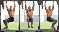 NBA-Trainer-Amolia-Cesar-Performing-Hanging-Bent-Knee-Wiper-Exercise