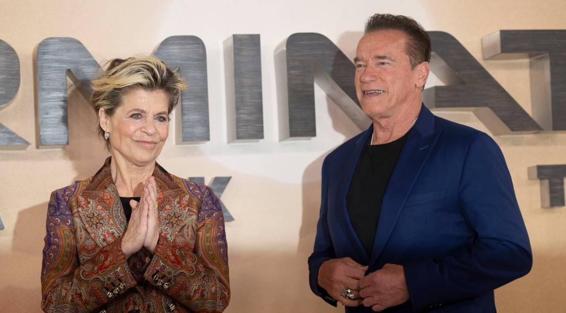 Linda Hamilton and Arnold Schwarzenegger at 'Terminator: Dark Fate' Photo Call