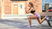 Woman Bulgarian Split Squat Outdoors