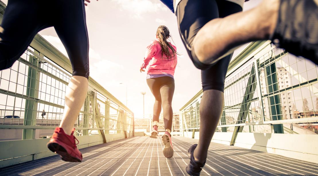 Runners running a marathon in the city