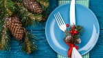 Knife-Fork-Blue-Plate-With-Pine-Cone-And-Holly-Holiday
