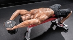Muscular-Topless-Male-Performing-Lying-Dumbbell-Pullover-End-Position