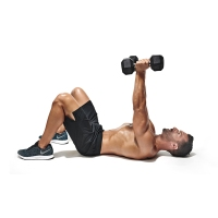 Topless-Muscular-Male-Performing-Lying-Dumbbell-Chest-Press-Position-Two