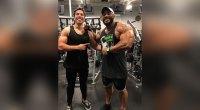 Joseph Baena Poses With Sergio Oliva Jr.