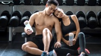 Asian-Fitness-Couple-Happy-Relationship-In-Love-At-Gym