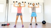 Couple-Working-Out-Exercise-Dumbbell-Overhead-Press