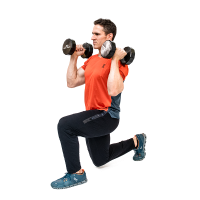 Don-Salidino-Performing-Dumbbell-Lunge-Thrust-Exercise-Step-Two