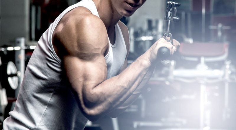 man with muscular arms doing tricep exercises and workouts