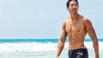 Wet-Muscular-Asian-Male-In-Ocean