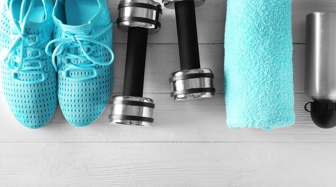 Fitness-Equipment-Sneakers-Dumbbells-Towel-Water-Bottle