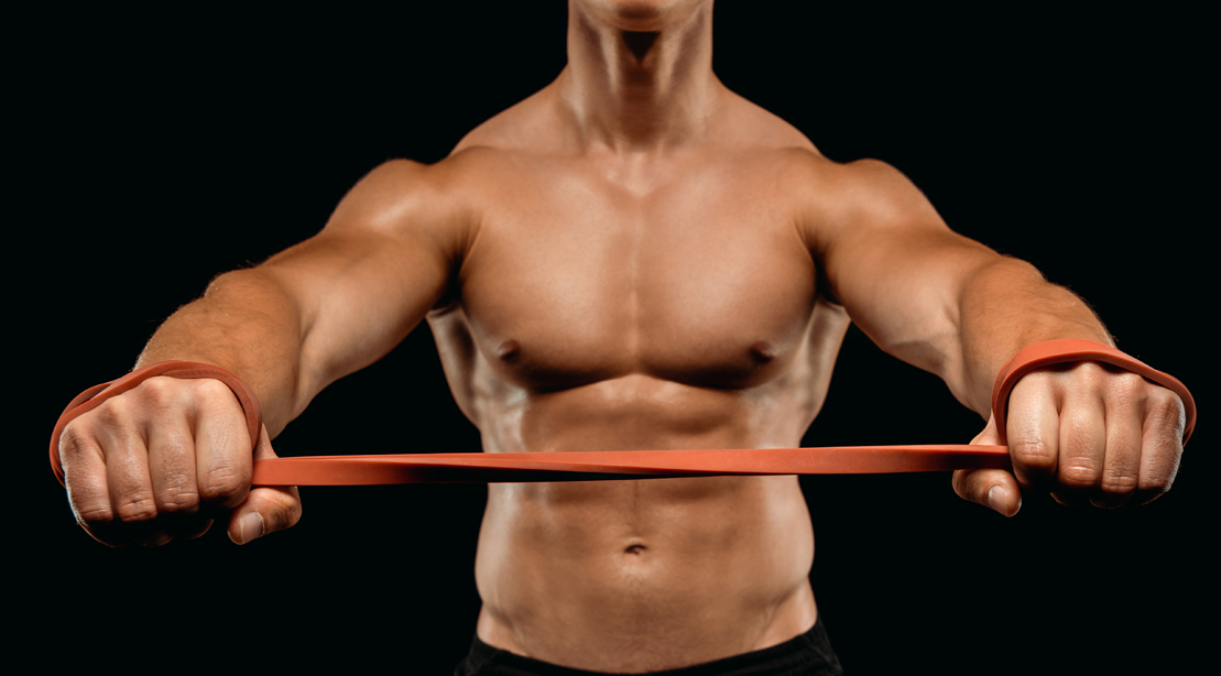 Man-With-Muscular-Physique-Stretching-Workout-Band