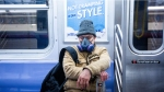 New Yorker Wearing Face Mask Riding The MTA Subway During Coronavirus Pandemic