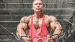 Bodybuilder Flex Lewis doing cable chest exercise