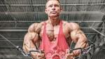 Bodybuilder Flex Lewis doing cable chest exercise