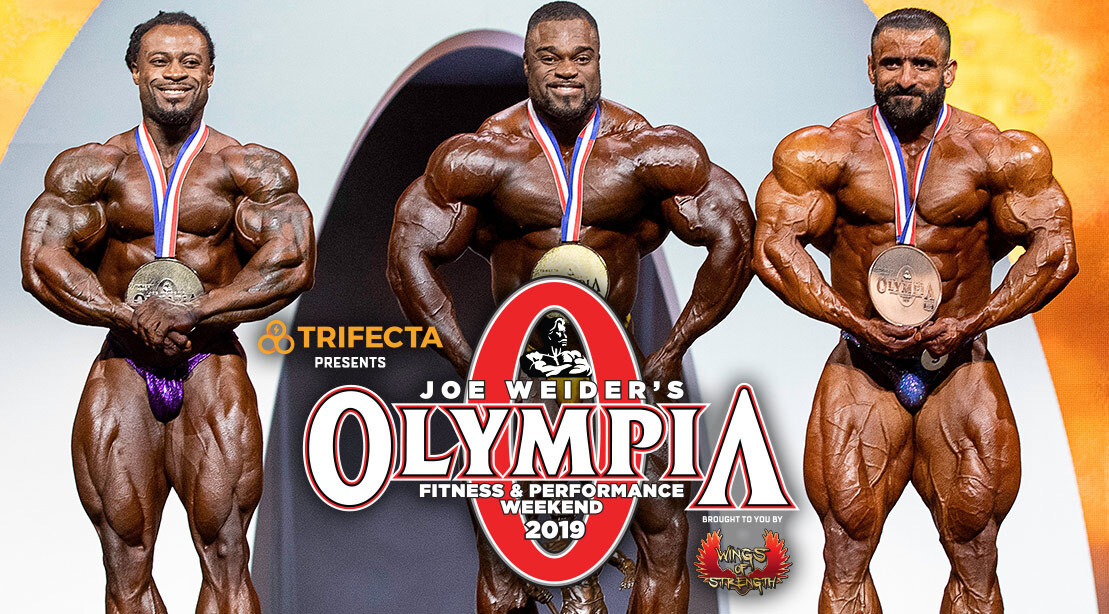 Olympia-Bodybuilders-Wiliam Bonac Brandon Curry standing on Olympia stage