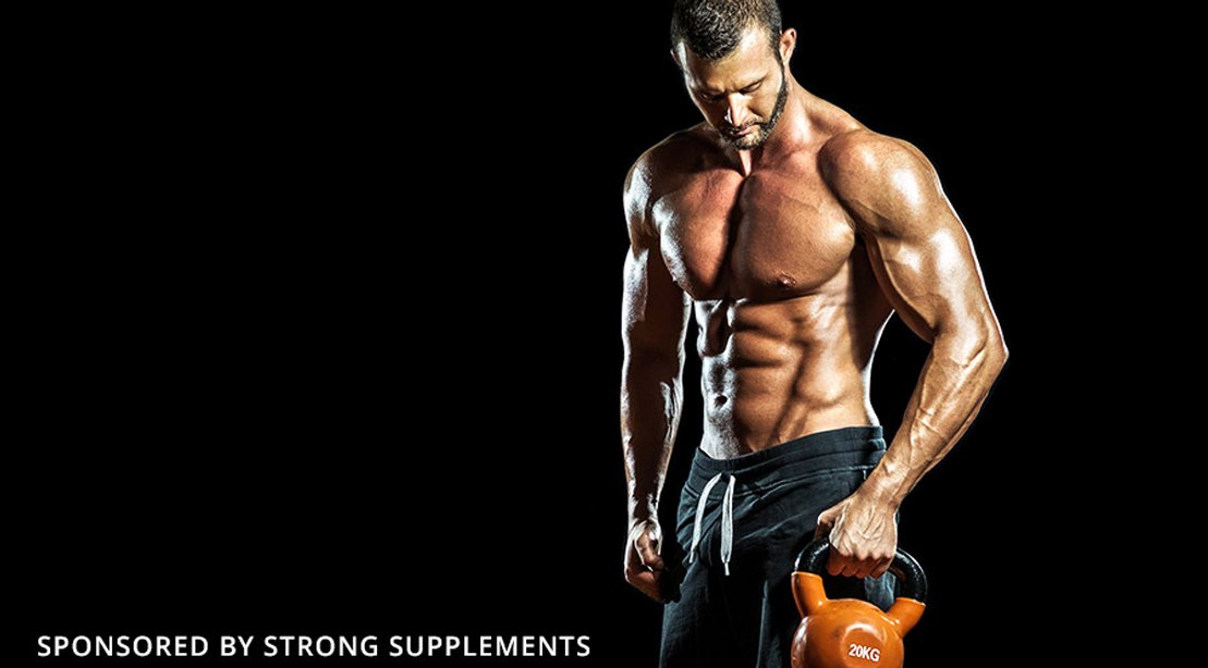 Muscular-Shirtless-Bodybuilder-Holding-A-Kettlebell