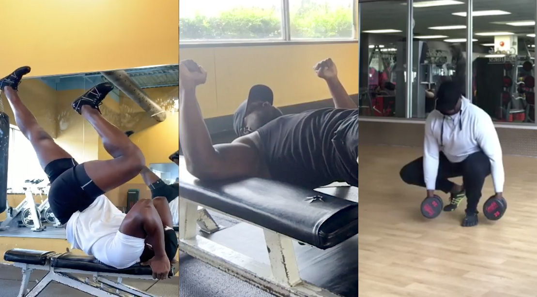 Trainer working out in the gym doing a variety of bodyweight exercises