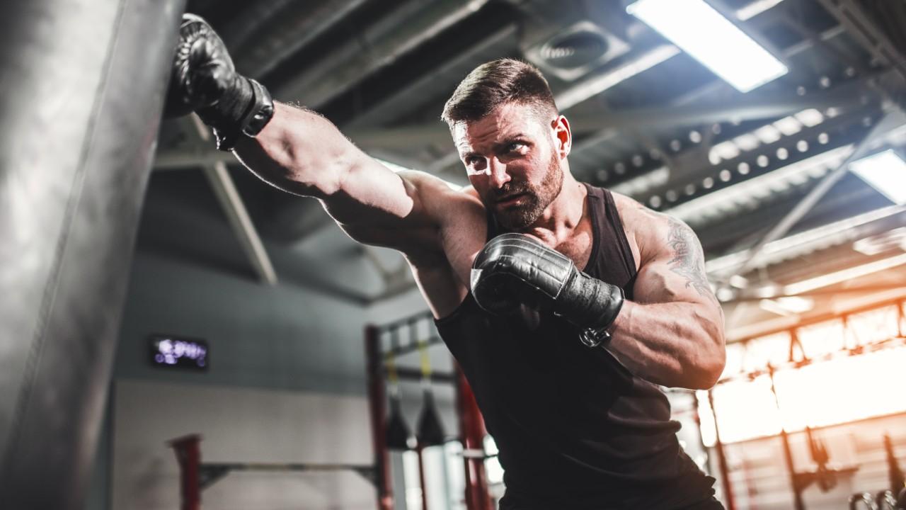 Boxer Hitting Heavy Bag