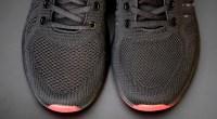 Mesh black running shoes
