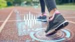 Female runner wearing advanced running shoes
