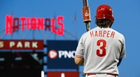 MLB Philadelphia Phillies player Bryce Harper holding a bat during a baseball game
