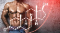 Muscular fit man standing behind an illustration of the chemical structure of testosterone