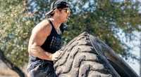 Special forces and former UFC fighter Tim Kennedy Workingout with a tire