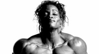 Female bodybuilder posing for Bill Dobbins photo shoot