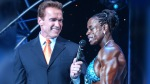 Former Mr. Olympia and Actor Arnold Schwarzenegger interview female bodybuilder and Ms Olympia Iris Kyle