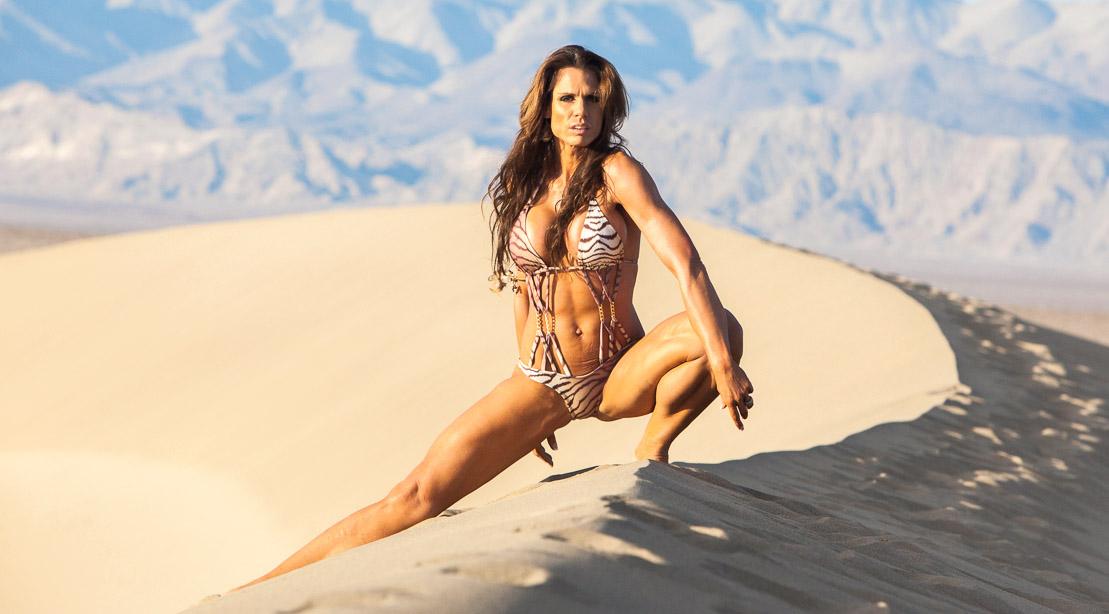 Kerstin Schulze wearing a zebra print bikini in the Death Valley Dessert Landscape