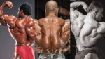 Mr. Olympia and bodybuilder Lee Haney, Phil Heath, Dorian Yates posing and showing back muscles