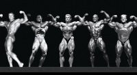 Past Bodybuilders Mr. Olympia Winners posing Arnold Schwarzenegger Lee Haney Dorian Yates Ronnie Coleman Jay Cutler in a line