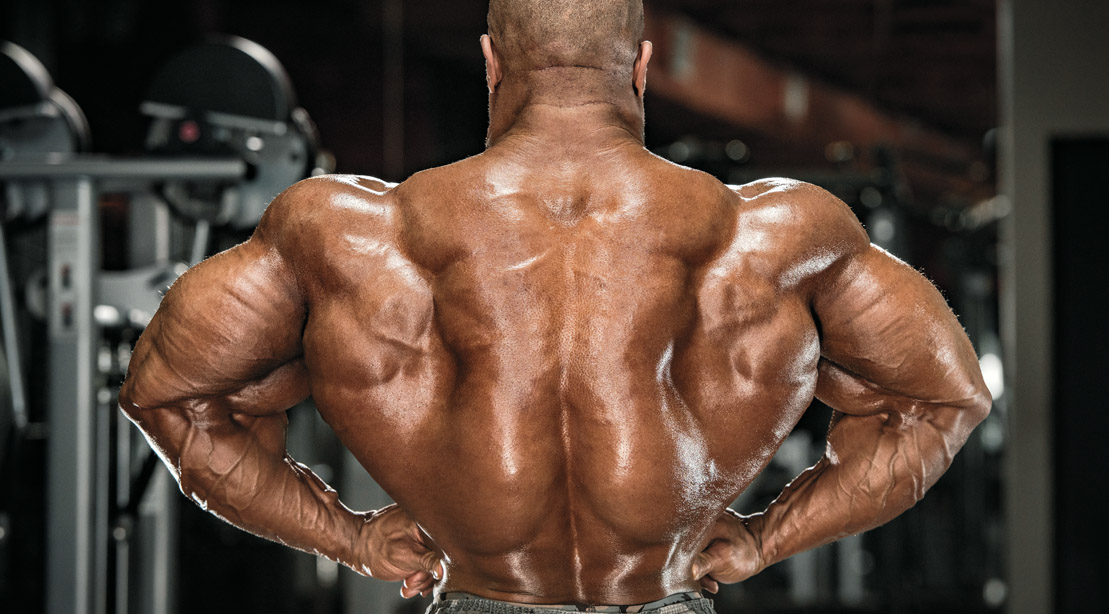 Professional bodybuilder Phil Heath posing and showing his back muscles