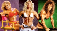 Three female bodybuilder contenders showing off their muscles