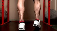 Bodybuilder with muscular calf muscles at the smith machine