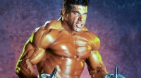 Lou Ferrigno the actor who played Marvel's TV Show The Hulk posing in the gym with dumbbells