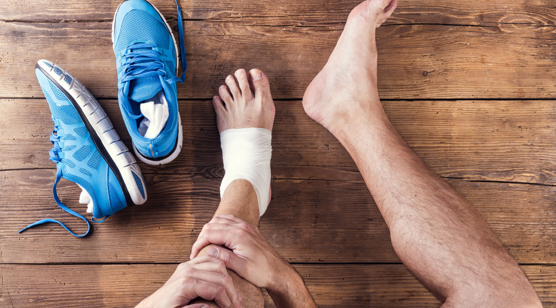 Runner with an ankle injury